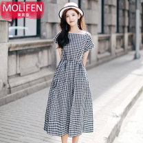 Dress Summer of 2019 Black check bean paste powder S M L Mid length dress singleton  Short sleeve Sweet One word collar Elastic waist lattice Single breasted Big swing other Others 25-29 years old Type A Madiun  Pleated button MLF17502 More than 95% cotton Cotton 100% college