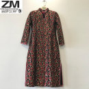 Middle aged and old women's wear Spring 2021 Happiness Dress Self cultivation singleton  Decor Over 60 years old Socket thick stand collar Medium length Petal sleeve Goddess of dreams Hollowing out polyester 51% (inclusive) - 70% (inclusive) Pure e-commerce (online only) A button Middle-skirt Lace