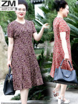 Middle aged and old women's wear Summer 2020 Red Multi collar skirt purple multi collar skirt noble Dress singleton  Texture pattern 50-59 years old Socket thin square neck Medium length Pile sleeve ZMNS22Z501 Goddess of dreams Gauze polyester 96% and above Pure e-commerce (online only) Medium length