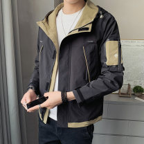 Jacket First tone Youth fashion Jk8812 black jk8812 gray 4XL M L XL 2XL 3XL routine easy motion spring JK8812B3 Polyester 100% Long sleeves Wear out Hood tide routine Zipper placket Straight hem No iron treatment Loose cuff Spring 2021 Pure e-commerce (online only) polyester fiber More than 95%