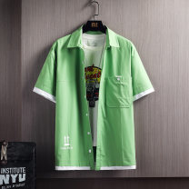 shirt Youth fashion First tone M L XL 2XL 3XL 4XL 8856 grass green 8856 black 8856 Khaki 8856 bean green 8856 yellow Thin money Pointed collar (regular) Short sleeve Self cultivation go to work summer 8856A-4 Cotton 100% tide 2021 Summer 2021 No iron treatment cotton Button decoration More than 95%