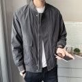 Jacket First tone Youth fashion Jk8825 black grey jk8825 Khaki jk8825 Beige M L XL 2XL 3XL 4XL routine easy Other leisure spring JK8825A Polyester 100% Long sleeves Wear out Baseball collar tide routine Zipper placket Rib hem No iron treatment Closing sleeve Solid color polyester fiber Spring 2021