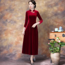 cheongsam Autumn 2020 M L XL 2XL 3XL 4XL 5XL 6XL Red, black, purple three quarter sleeve long cheongsam Retro No slits daily Oblique lapel Solid color Over 35 years old Embroidery ML8892 KTH polyester fiber Polyester 92% polyurethane elastic fiber (spandex) 8% Exclusive payment of tmall