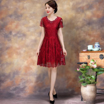 Middle aged and old women's wear Summer 2020 Red short sleeve red Quarter Sleeve M L XL XXL 3XL 4XL 5XL 6XL noble Dress Self cultivation singleton  Solid color 40-49 years old Socket moderate Crew neck other KTH Nail bead polyester Polyester 92% polyurethane elastic fiber (spandex) 8% Medium length