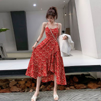 Dress Summer 2021 Red, black S,M,L,XL Mid length dress singleton  Sleeveless commute V-neck High waist Decor Socket A-line skirt routine camisole 25-29 years old Type A Other / other Retro Ruffles, zippers, prints Chiffon