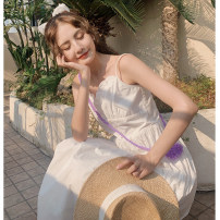 Dress Summer 2021 white S,M,L Mid length dress singleton  Sleeveless Sweet V-neck Solid color Socket A-line skirt camisole 18-24 years old Type A Other / other More than 95% other cotton