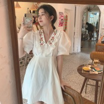Dress Summer 2021 White, light blue S,M,L,XL Short skirt singleton  Short sleeve commute Doll Collar High waist Solid color Socket A-line skirt puff sleeve 18-24 years old Type A Other / other Retro More than 95%