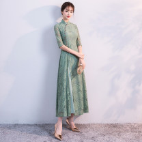 cheongsam Winter 2017 S M L XL 2XL 3XL three quarter sleeve long cheongsam Retro High slit banquet Oblique lapel Solid color 18-25 years old Nail bead Red clothes other Other 100% Pure e-commerce (online only)