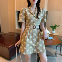 Dress Spring 2021 Daisy S M L Middle-skirt singleton  Long sleeves commute tailored collar High waist Broken flowers Others 18-24 years old KITTYBOOTS Korean version KBS-Q8023 More than 95% other Other 100% Pure e-commerce (online only)