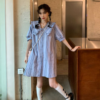 Dress Summer 2021 Apricot blue Average size Middle-skirt singleton  Long sleeves Lotus leaf collar Loose waist stripe routine Others 18-24 years old KITTYBOOTS More than 95% other Other 100% Pure e-commerce (online only)