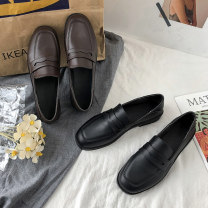 Low top shoes 35 36 37 38 39 40 Hanyi Black Brown Square head PU Thick heel Low heel (1-3cm) Shallow mouth PU Autumn 2020 Trochanter solar system Adhesive shoes Youth (18-40 years old) Solid color polyurethane Lazy shoes Roman style PU leisure time 5416 52 Pure e-commerce (online only) Women's