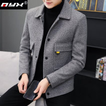 Jacket Q.Y.X Fashion City Grey Brown Beige M L XL 2XL 3XL thick Self cultivation Other leisure winter 2134165465-537 Polyester 100% Long sleeves Wear out Lapel Youthful vigor youth short Single breasted Cloth hem No iron treatment Loose cuff Solid color Imitation fabric Winter of 2019 Cover patch bag