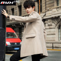 woolen coat Grey Beige Camel M L XL 2XL 3XL Q.Y.X Fashion City 6545646-m667 Polyester 100% Wool like (TR) Winter of 2019 Medium length Other leisure Self cultivation youth tailored collar Single breasted Exquisite Korean style stripe Straight hem Digging bags with lids No iron treatment