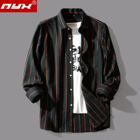 shirt Fashion City Q.Y.X M L XL 2XL 3XL 4XL 5XL routine square neck Long sleeves easy Other leisure spring youth Polyester 50% cotton 46% viscose 4% Japanese Retro 2020 stripe Color woven fabric Spring 2020 No iron treatment cotton 30% (inclusive) - 49% (inclusive)