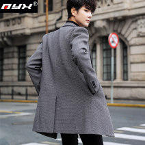 woolen coat M L XL 2XL 3XL Q.Y.X Fashion City Polyester 100% Wool like (TR) Winter of 2019 Medium length Other leisure Self cultivation youth tailored collar Single breasted Business Casual other Straight hem Side seam pocket No iron treatment