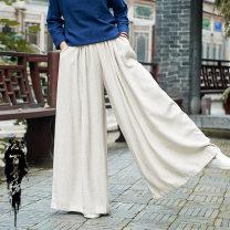 Casual pants Dark black, plain white, raw hemp S. L, m original uniform code Spring 2021 trousers Natural waist commute routine 81% (inclusive) - 90% (inclusive) B-2302 Other / other hemp Retro hemp