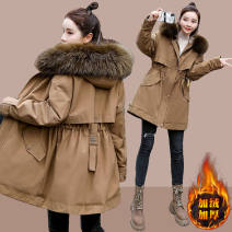 Cotton padded clothes 1305 brown, 1305 black M [recommended below 100 kg], l [recommended 100-115 kg], XL [recommended 115-130 kg], 2XL [recommended 130-145 kg], 3XL [recommended 145-160 kg], 4XL [recommended 160-180 kg] Winter 2021 Xiangduo'er Medium length zipper commute Straight cylinder other