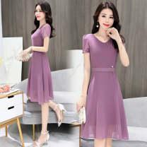 Dress Spring of 2019 M,L,XL,2XL,3XL longuette singleton  Short sleeve commute V-neck Solid color zipper A-line skirt routine Others Korean version zipper Chiffon other