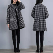 woolen coat Autumn 2021 M 90-105 kg, l 105-120 kg, XL 120-130 kg, 2XL 130-140 kg, 3XL 140-150 kg, 4XL 150-165 kg, 5XL 165-180 kg Square collar grid [lining with cotton], hooded grid [lining with cotton] other 81% (inclusive) - 90% (inclusive) Medium length Long sleeves commute square neck lattice