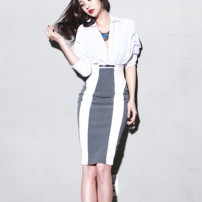 skirt Summer of 2019 XS,S,M,L,XL,2XL Picture color Middle-skirt commute High waist A-line skirt stripe Type X 25-29 years old 51% (inclusive) - 70% (inclusive) other other Splicing Ol style