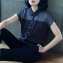 shirt Navy black white S M L XL 2XL 3XL 4XL Summer of 2018 polyester fiber 96% and above Short sleeve commute Medium length square neck Single row multi button raglan sleeve Solid color 25-29 years old Self cultivation Lianglanxuan Korean version MB9130 Button gauze Pure e-commerce (online only)