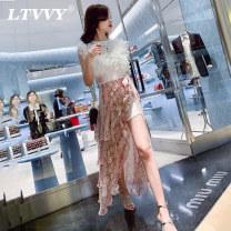 skirt Summer of 2019 S M L Decor Mid length dress commute High waist Irregular Decor Type X 25-29 years old More than 95% LTVVY polyester fiber Korean version Polyester 100% Pure e-commerce (online only)