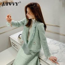 short coat Autumn of 2019 S M L Green [jacket vs19086762] green [skirt vx190986772] Long sleeves routine routine singleton  easy routine tailored collar Single row two buttons Solid color 25-29 years old LTVVY 81% (inclusive) - 90% (inclusive) Tassel button VS19086762 polyester fiber