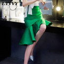 skirt Autumn 2016 S M L green Mid length dress commute High waist Ruffle Skirt Solid color Type X 25-29 years old More than 95% other LTVVY polyester fiber Korean version Polyester 100% Pure e-commerce (online only) 301g / m ^ 2 (including) - 350g / m ^ 2 (including)