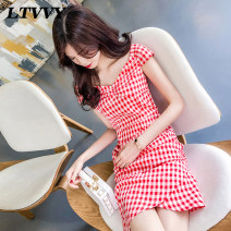 Dress Summer of 2019 Red and white check S M L Short skirt singleton  Short sleeve commute V-neck High waist lattice zipper One pace skirt other Others 25-29 years old Type X LTVVY Korean version Butterfly dew back zipper More than 95% polyester fiber Pure e-commerce (online only)