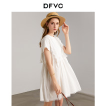 Dress Summer 2020 White black grayish white S M L Mid length dress singleton  Short sleeve street Crew neck Loose waist Solid color Socket A-line skirt routine Others 25-29 years old dfvc Hollow lace DV211S1008 More than 95% cotton Cotton 100% Pure e-commerce (online only) Europe and America