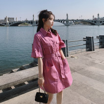 Dress Summer 2021 Purple pink light green S M L XL Mid length dress singleton  Short sleeve commute Polo collar High waist Solid color Single breasted other routine Others 18-24 years old Type A Shfanny / Savannah Korean version B2110418L More than 95% other cotton Cotton 100%
