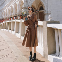 Dress Autumn 2020 Light coffee Retro Red S M L Mid length dress singleton  Long sleeves commute V-neck High waist Solid color Single breasted other bishop sleeve Others 25-29 years old Type A Shfanny / Savannah Korean version B2020653W More than 95% other polyester fiber Polyester 100%