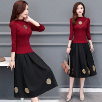 Dress Spring 2021 Red (quarter sleeve) red (long sleeve) black (quarter sleeve) black long sleeve S M L XL 2XL 3XL Mid length dress Fake two pieces Long sleeves commute Half high collar middle-waisted Solid color Socket A-line skirt routine Others 35-39 years old Type A Li Fanger Korean version