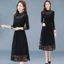 Dress Spring 2021 Black (plush version) black M L XL XXL 3XL Mid length dress Long sleeves commute other middle-waisted Solid color Socket Big swing other Others 30-34 years old Type A Li Fanger Korean version Patchwork lace L19CQLFEQZ8103 30% and below polyester fiber Pure e-commerce (online only)