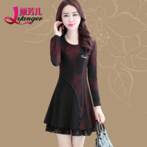 Dress Spring 2017 Red gold Mid length dress singleton  Long sleeves commute Crew neck middle-waisted other Socket A-line skirt other Others 35-39 years old Type A Li Fanger Korean version Splicing More than 95% polyester fiber Polyester 97.7% polyurethane elastic fiber (spandex) 2.3%