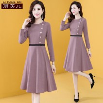 Dress Autumn 2020 Bean paste (plush version) bean paste S M L XL XXL 3XL Mid length dress singleton  Long sleeves commute Crew neck middle-waisted Solid color Socket A-line skirt routine Others 35-39 years old Type A Li Fanger Korean version Button L20QQLFEQZ8316 More than 95% other Other 100%