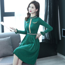 Dress Spring of 2019 green XXL M L XL Mid length dress singleton  Long sleeves commute other middle-waisted Solid color Socket A-line skirt other Others 40-49 years old Type A Li Fanger Korean version More than 95% polyester fiber Polyester 95.7% polyurethane elastic fiber (spandex) 4.3%
