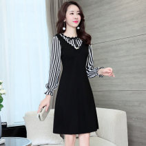 Dress Spring 2021 black L XL XXL 3XL M Middle-skirt singleton  Long sleeves commute other middle-waisted Socket A-line skirt other Others 30-34 years old Type A Li Fanger Korean version Splicing More than 95% polyester fiber Polyester fiber 95.6% polyurethane elastic fiber (spandex) 4.4%