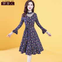 Dress Autumn of 2019 Broken flowers with blue background and broken flowers with red background S M L XL XXL 3XL Mid length dress singleton  Nine point sleeve commute Crew neck middle-waisted Broken flowers Socket A-line skirt pagoda sleeve Others 35-39 years old Type A Li Fanger Korean version