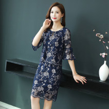 Dress Summer of 2019 dark blue S M L XL 2XL 3XL Mid length dress Two piece set elbow sleeve commute Crew neck middle-waisted Decor Socket other Others 40-49 years old Type H Li Fanger Korean version L19XQLFEQZ8129 More than 95% polyester fiber Pure e-commerce (online only)