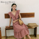 Dress Autumn of 2018 gules 155/S 160/M 165/L longuette singleton  Sleeveless commute V-neck High waist lattice Socket A-line skirt other Others 25-29 years old Type A Holiday queen ethnic style Open back zipper with ruffles HQ18-S8418 71% (inclusive) - 80% (inclusive) other polyester fiber