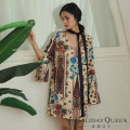 Dress Summer 2020 Off white 155/S 160/M 165/L Short skirt singleton  Long sleeves commute V-neck Loose waist Decor Socket A-line skirt pagoda sleeve Others 25-29 years old Type A Holiday queen ethnic style Bandage printing HQ20-HS8036 More than 95% Chiffon polyester fiber Polyester 100%