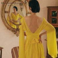 Dress Summer of 2019 yellow 155/S 160/M 165/L longuette singleton  Long sleeves commute V-neck High waist Solid color Socket A-line skirt Lotus leaf sleeve Others 25-29 years old Type A Holiday queen ethnic style Open back lace up HQ19-S8507 More than 95% Chiffon polyester fiber Polyester 100%