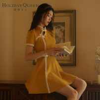 cheongsam Summer 2020 155/S 160/M 165/L yellow Short sleeve Short cheongsam ethnic style No slits daily Oblique lapel other 25-35 years old HQ20-S8712 Holiday queen polyester fiber Polyester 100% Pure e-commerce (online only) 96% and above