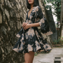 Dress Spring of 2018 black 155/S 160/M 165/L Short skirt singleton  three quarter sleeve commute V-neck High waist Broken flowers Socket A-line skirt pagoda sleeve Others 25-29 years old Type A Holiday queen ethnic style Bandage zipper print More than 95% Chiffon polyester fiber Polyester 100%