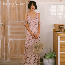 Dress Summer 2017 Pink 155/S 160/M 165/L longuette singleton  Sleeveless commute V-neck High waist Decor Socket A-line skirt other camisole 25-29 years old Type A Holiday queen Retro Backless printing HQ17-S6104 More than 95% other polyester fiber Polyester 100% Pure e-commerce (online only)