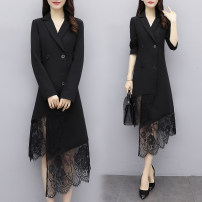 Women's large Spring 2021 black L [100 / 120 Jin], XL [120 / 130 Jin], 2XL [132 / 145 Jin], 3XL [145 / 160 Jin], 4XL [160 / 180 Jin], 5XL [180 / 200 Jin] Dress singleton  commute easy moderate Cardigan Long sleeves Solid color Korean version Polo collar Medium length polyester routine Lace stitching