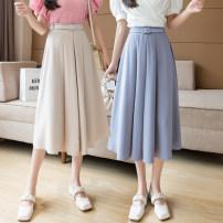 skirt Summer 2021 S,M,L,XL Blue, black, apricot Short skirt Versatile High waist A-line skirt Solid color Type A Chiffon Other / other