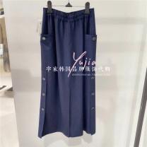 skirt Spring 2021 44,55,66 Dark blue DN, beige NL, black BK, cream ot Mid length dress Versatile Natural waist Solid color other