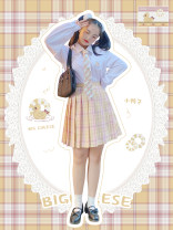 Women's large Spring 2021 42cm soft cute duck checked skirt (spot), 42cm soft cute duck checked skirt (pre-sale), 45cm soft cute duck checked skirt (spot), 45cm soft cute duck checked skirt (pre-sale), soft cute duck white shirt (spot), soft cute duck white shirt (pre-sale) skirt Two piece set Sweet